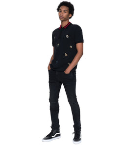 Cult of IndividualityMen's Punk Super Skinny Premium Stretch Denim Jeans in Vintage Black