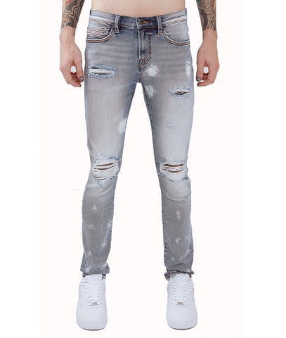 REBEL STRAIGHT DENIM JEANS STRETCH IN LENBAR