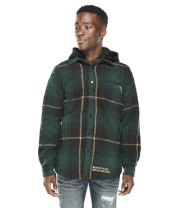 PLAID SHIRT JACKET WOOL/POLY IN FOREST GREEN