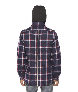 PLAID SHIRT JACKET WOOL/POLY IN NAVY