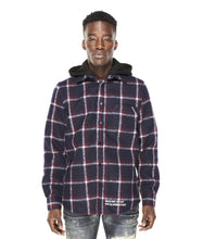 Load image into Gallery viewer, PLAID SHIRT JACKET WOOL/POLY IN NAVY