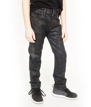 Cult of IndividualityKid's Rogue Slim Straight Stretch Denim Jeans in Black Ice