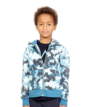 Camo Full Zip Hoody in Navy