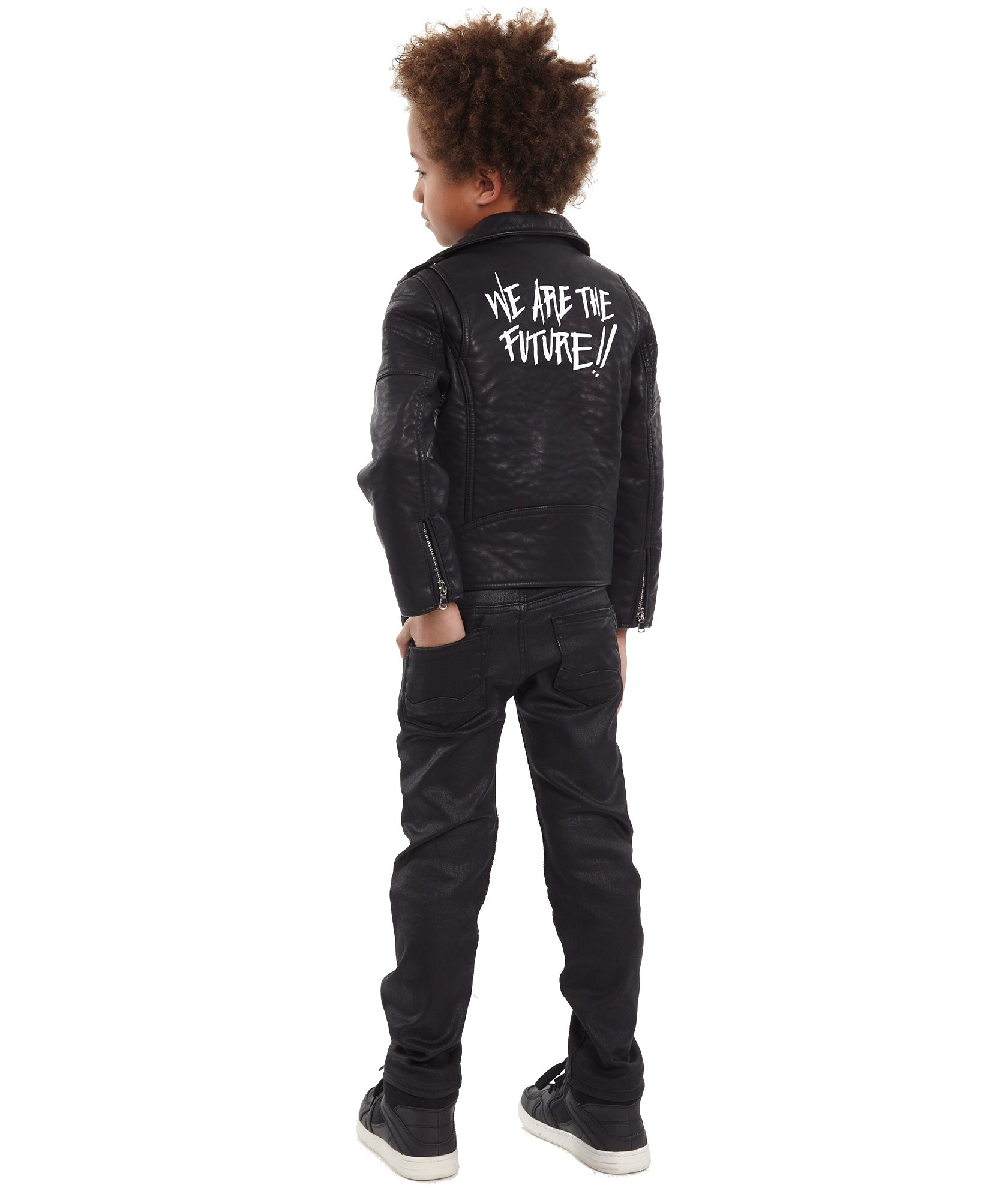 Cult of IndividualityKid's Leather Moto Jacket in Black
