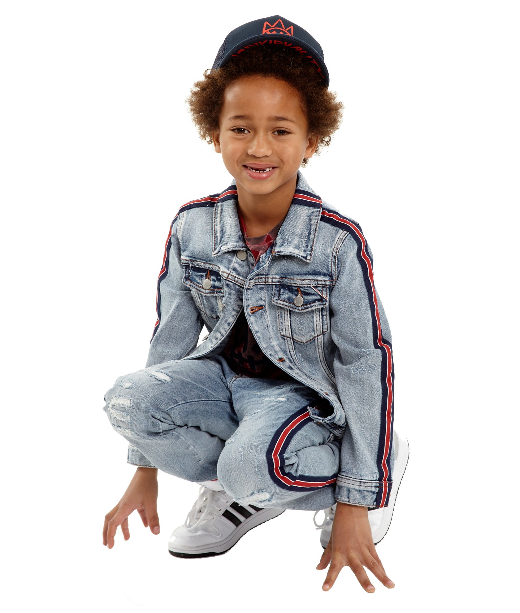 Kid's Stripe Denim Jacket in Kinevil${product_sku}