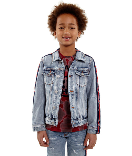 Cult of IndividualityKid's Stripe Denim Jacket in Kinevil5-Apr