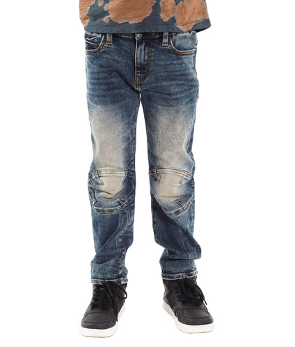 Cult of IndividualityKid's Rogue Slim Straight Stretch Moto Denim Jeans in Sifu10