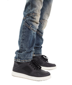 Cult of IndividualityKid's Rogue Slim Straight Stretch Moto Denim Jeans in Sifu