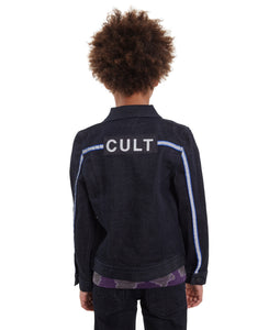 Cult of IndividualityKid's Stripe Reflective Stretch Denim Jacket in Rinse
