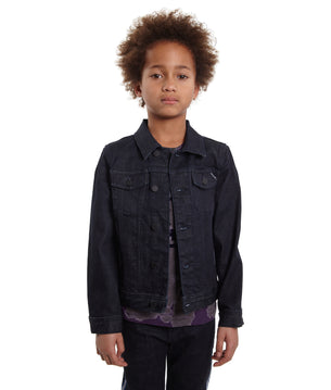 Cult of Individuality-KidsStripe Reflective Stretch Denim Jacket in Rinse