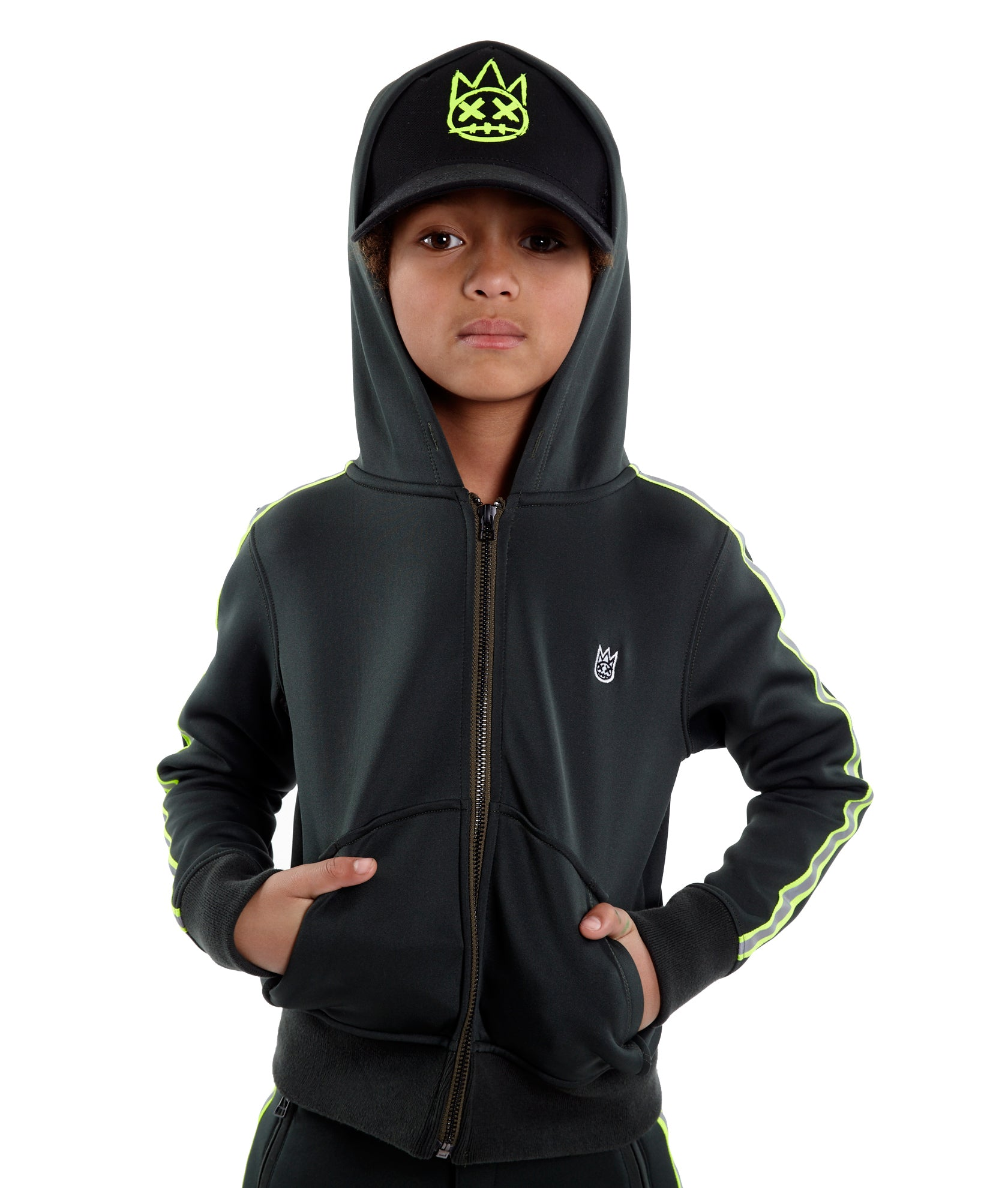 Kid's Scuba Stripe Full Zip Hoody in Hunter Green${product_sku}