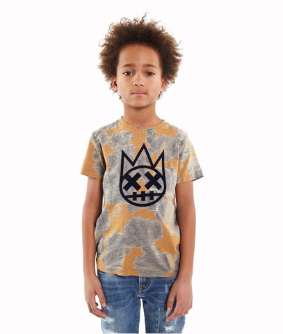 Kid's SHIMUCHAN Flocking Crew Neck T shirt in Grey