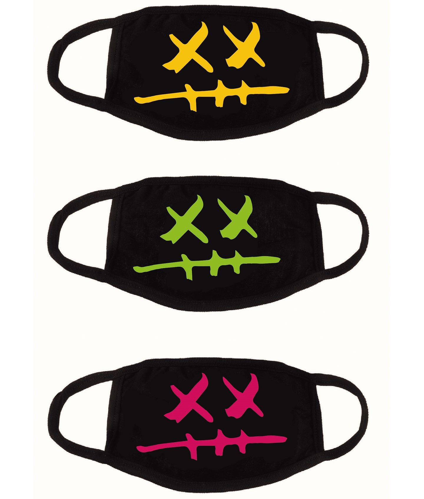 CULT XX REUSEABLE FACE MASK 3 PACK (YELLOW, GREEN, MAGENTA)