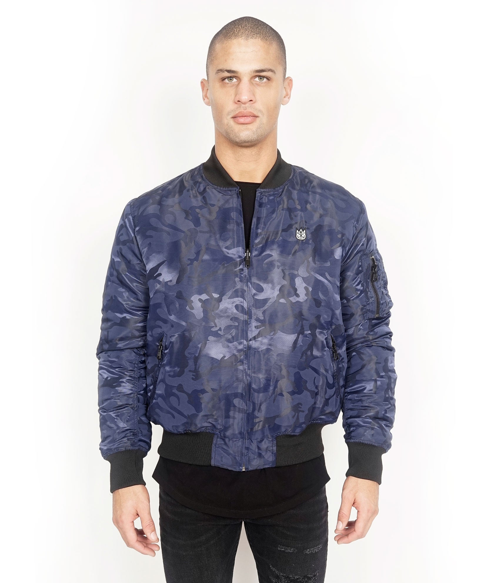 Cult of Individuality | Reversible Bomber Jacket in Navy Camo