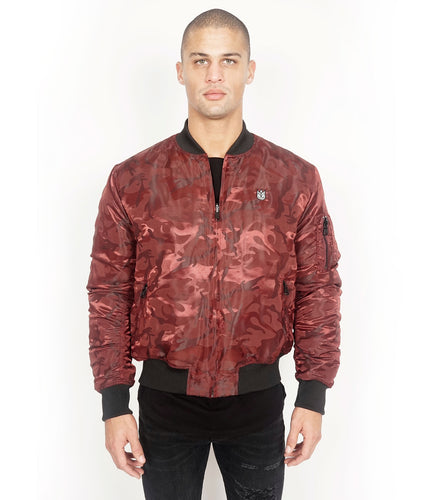 Cult of IndividualityMen's Reversible Bomber Jacket in Burgundy Camo3XL