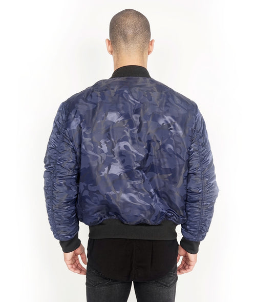 Cult of IndividualityMen's Reversible Bomber Jacket in Navy Camo