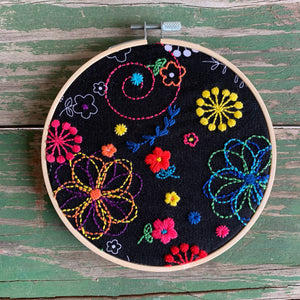Retro Flowers Embroidery Fabric
