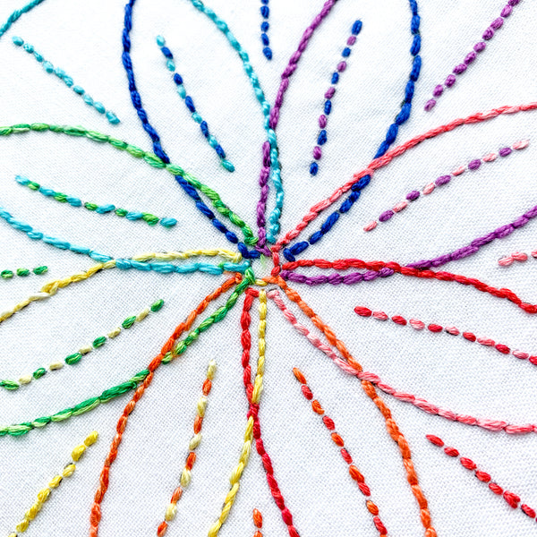 Beginner Rainbow Spiral Embroidery Kit - Hand Embroidery
