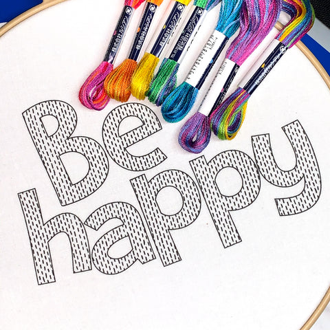 Be Happy Embroidery Pattern - Modern Hand Embroidery