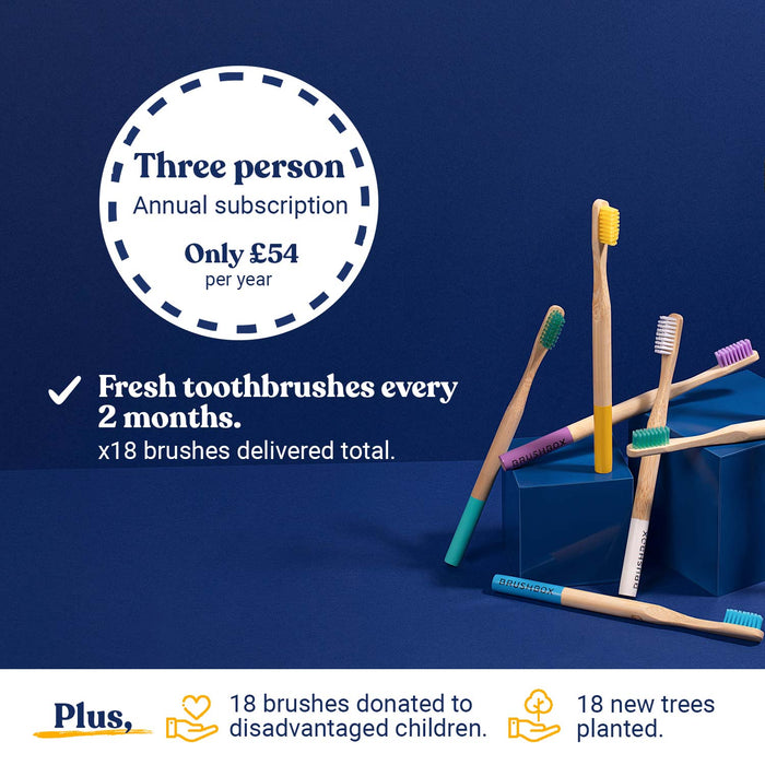 Smooth Bamboo Toothbrush - Annual Subscription - For Three People