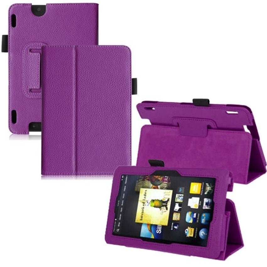 Leather Folio Stand Cover Case For Amazon Kindle Fire HDX 7 Inch, Purple -  intl - 6661509