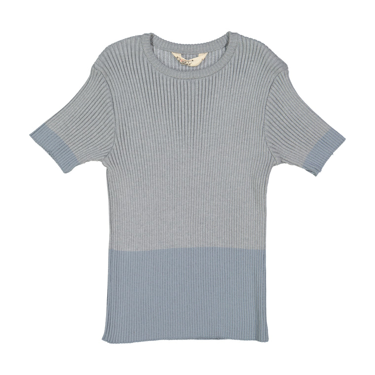 Nove Blue/Grey Ribbed Shirt