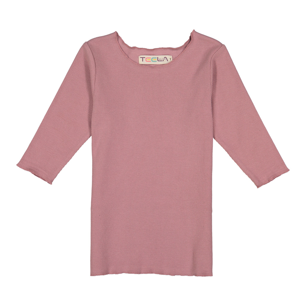 Teela Blush Rib 3/4 Sleeve Basic Shirt