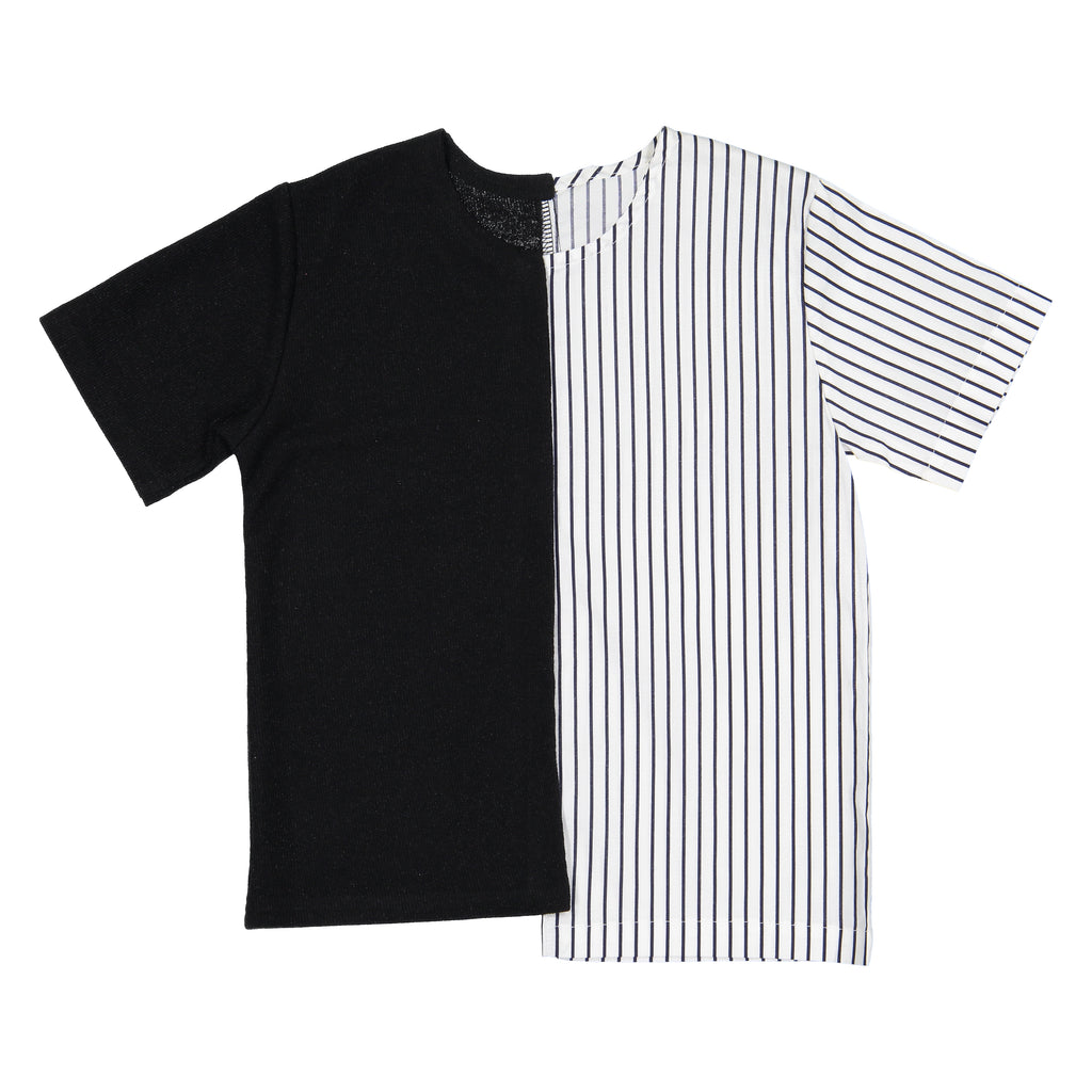 Belati Black Half N' Half Shirt With Stripes