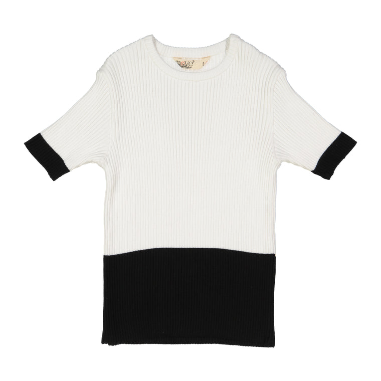 Nove White/Black Ribbed Top
