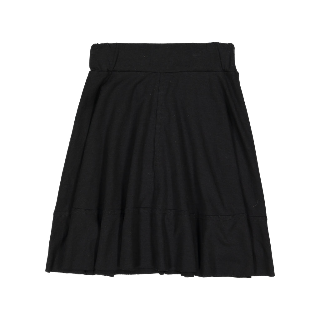 Teela Black Basic Knit Circle Cut Solid Skirt