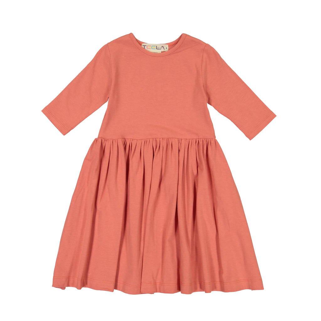 Teela Crabapple Ruffle Waist Solid Dress