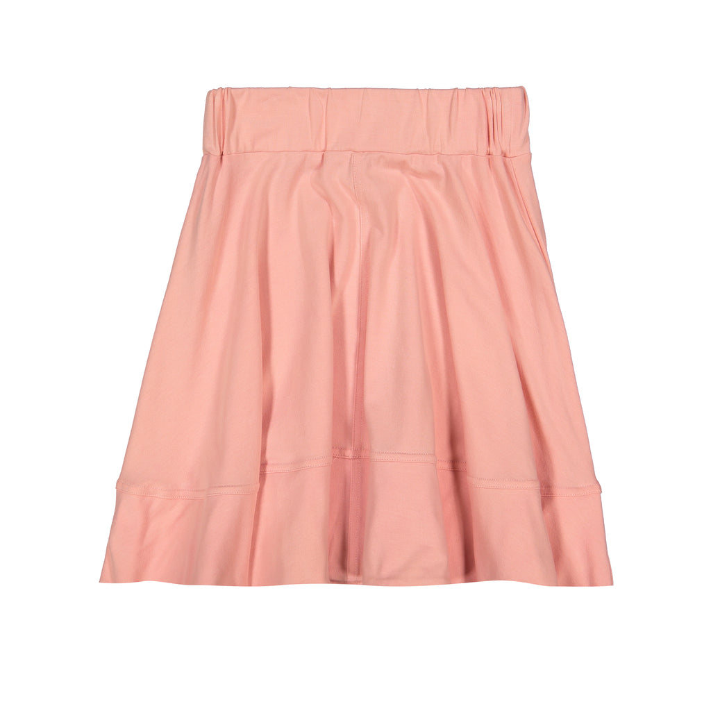 Teela Soft Pink Basic Knit Circle Cut Solid Skirt