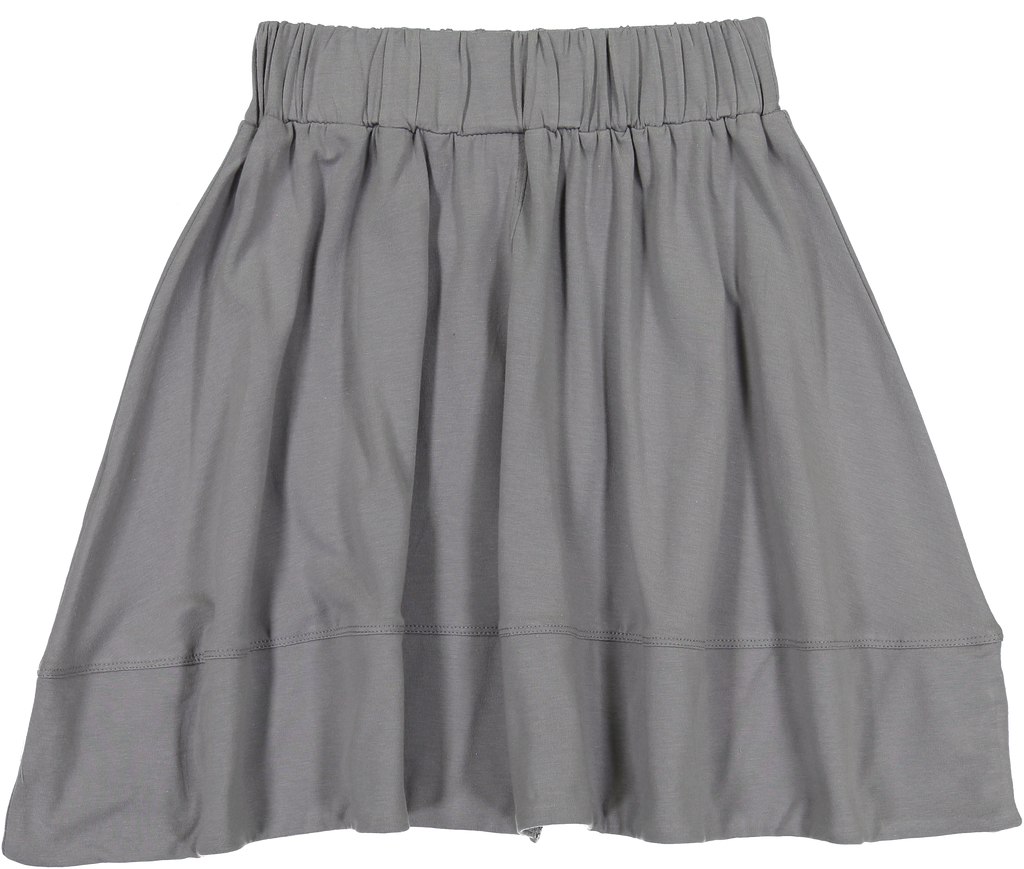 Teela Grey Basic Knit Circle Cut Solid Skirt