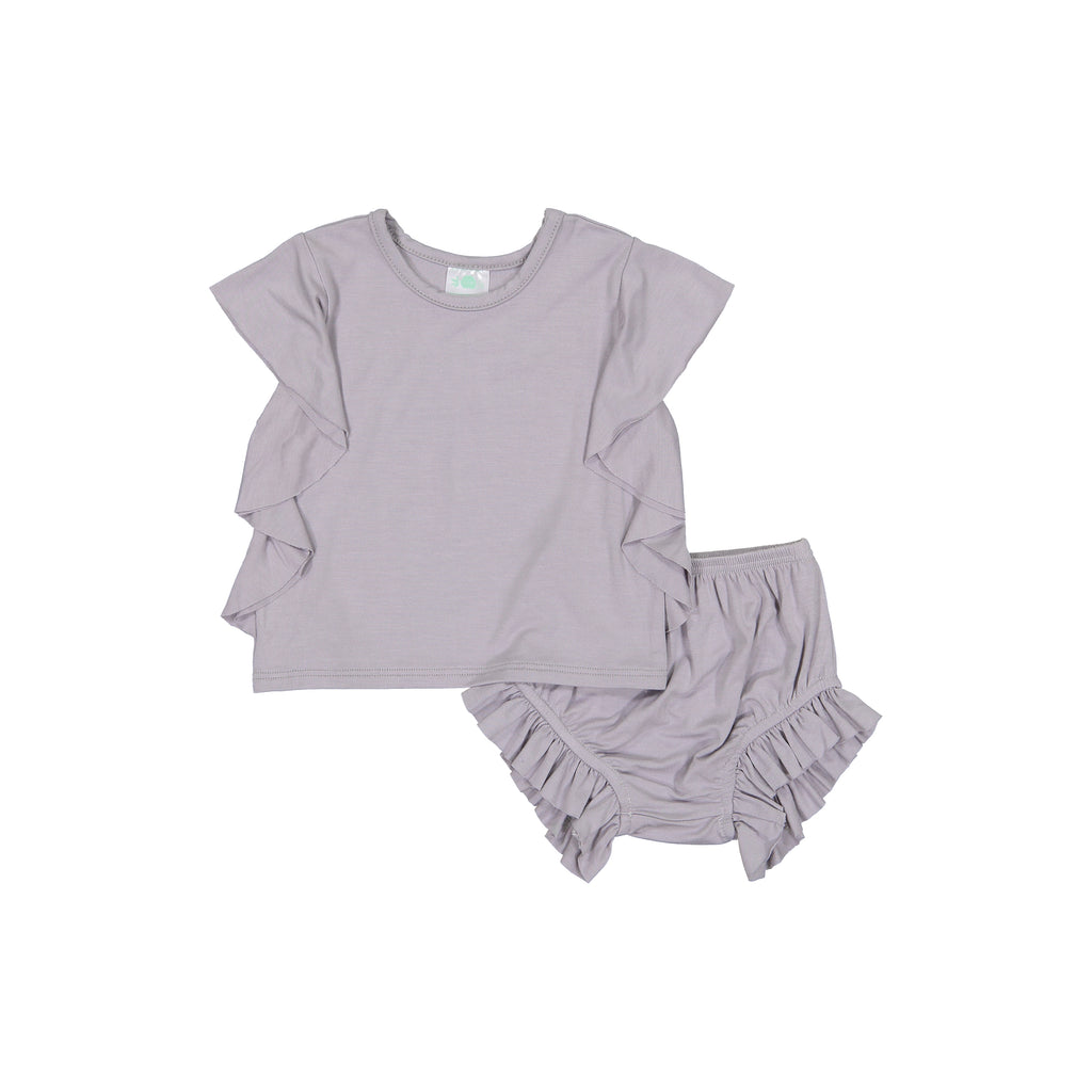 Petals & Peas Dove Gray Side Ruffle Top & Bloomer Set