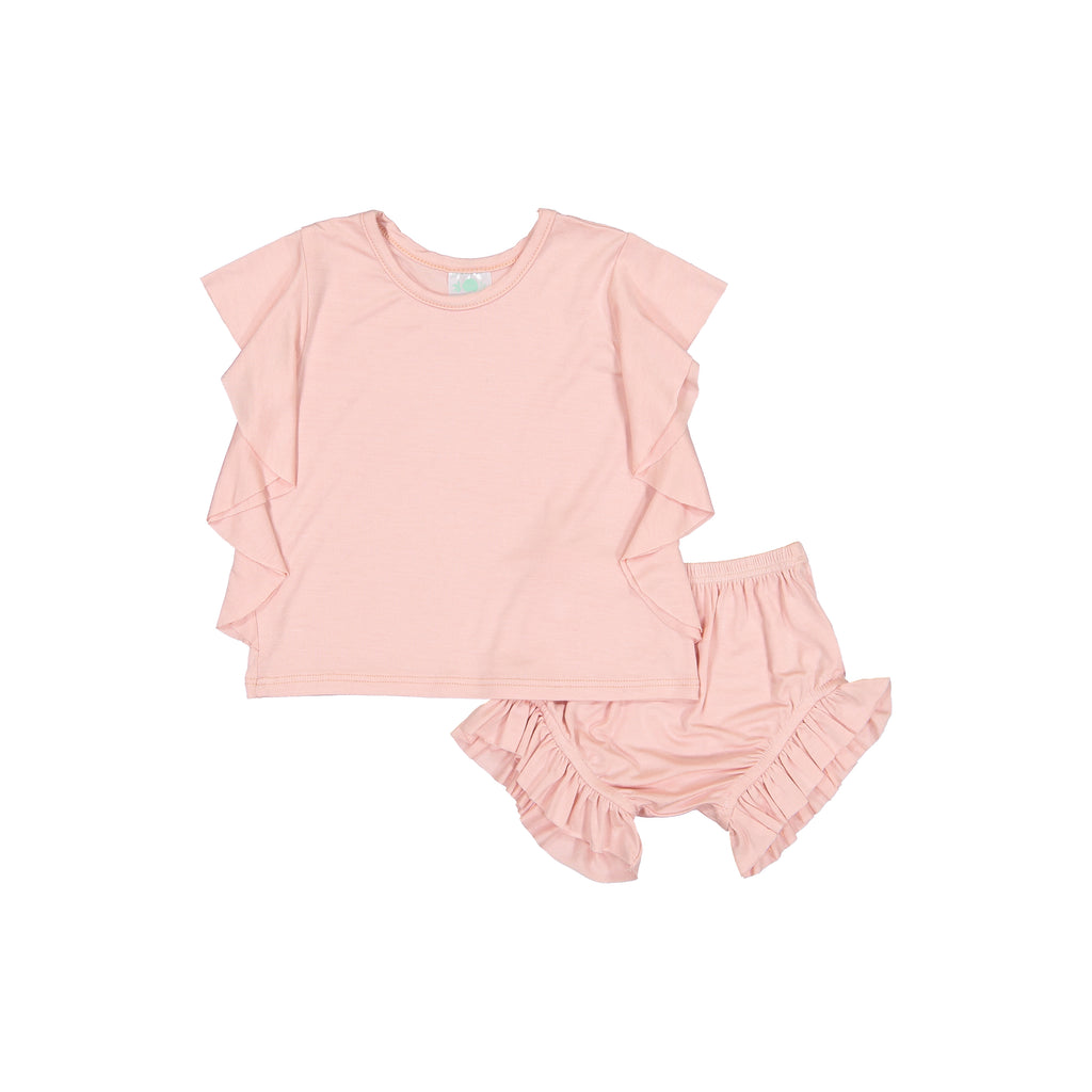 Petals & Peas Blush Side Ruffle Top & Bloomer Set
