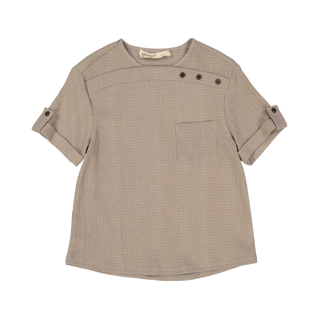 Nove Grey Collarless Crepe Shirt