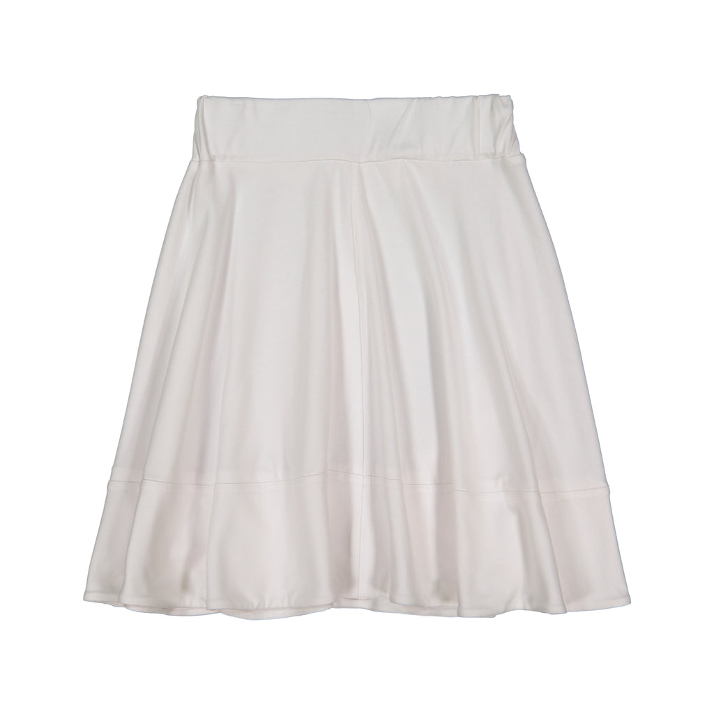 Teela White Basic Knit Circle Cut Solid Skirt
