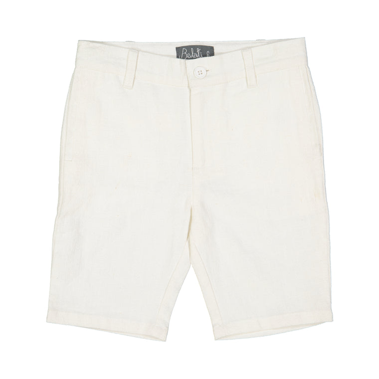Belati White Cotton Bermuda Shorts