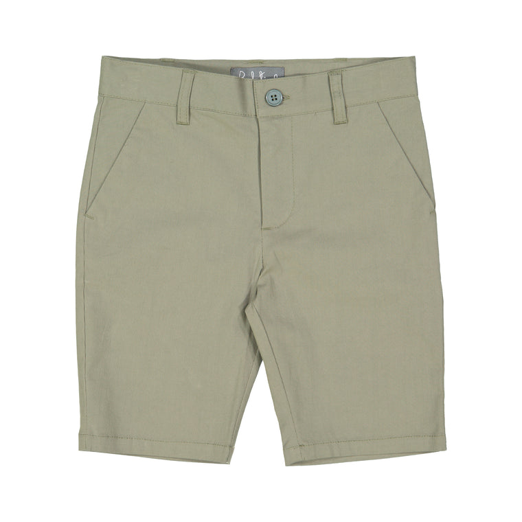 Belati Olive Stretchy Cotton Bermuda Shorts