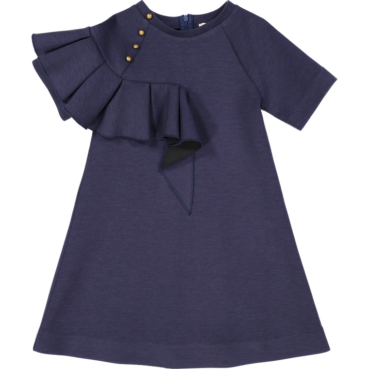 Nove Navy Ruffle Jersey A-Line Dress