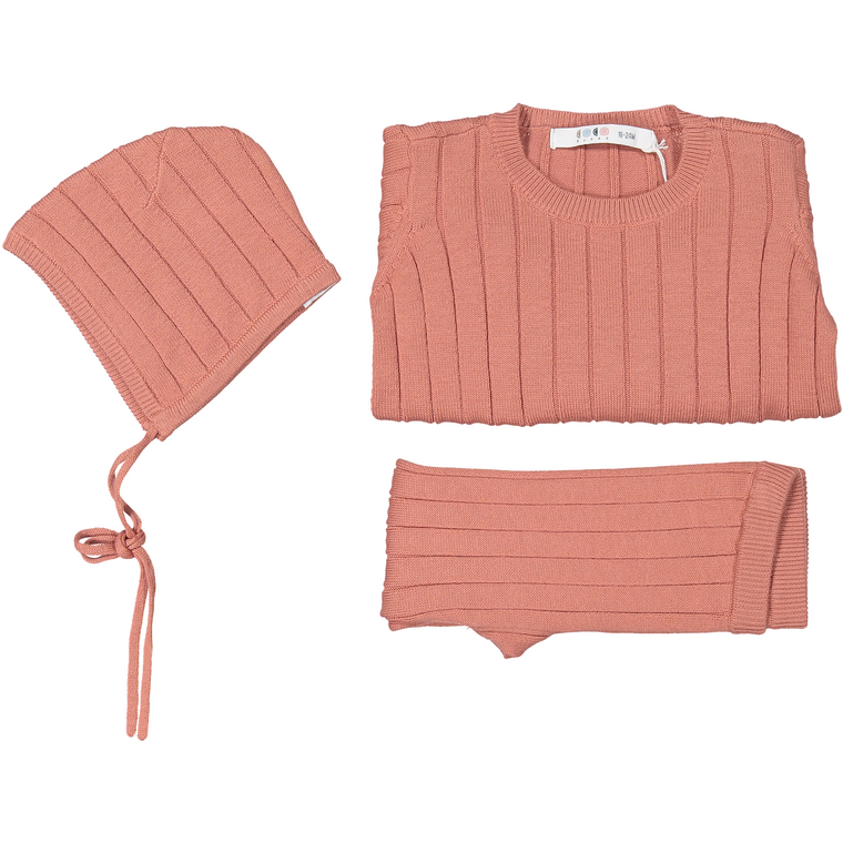 Coco Blanc Dusty Pink Three Piece Ribbed Baby Set