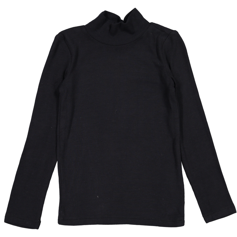 Coco Blanc Black Ribbed Turtleneck Shirt