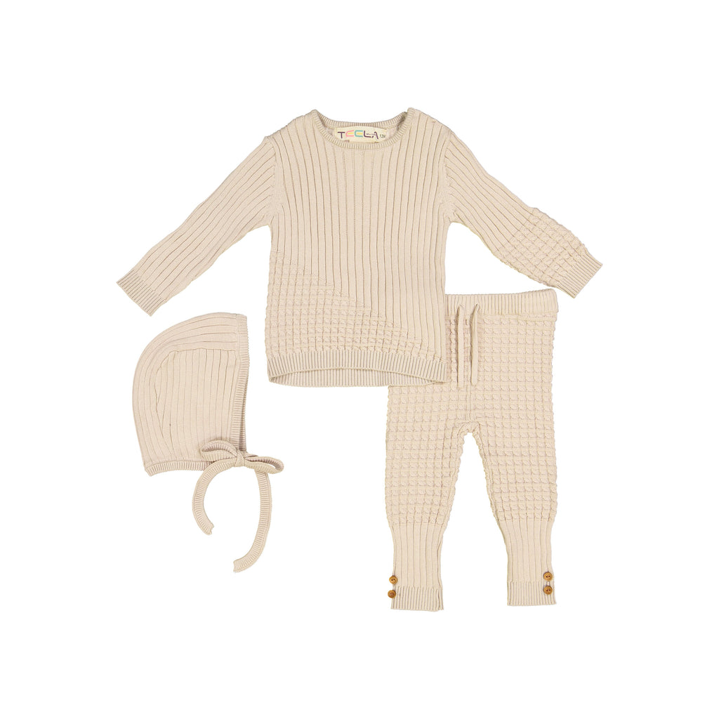 Teela Cashmere Cable Knit 3 Piece Baby Set