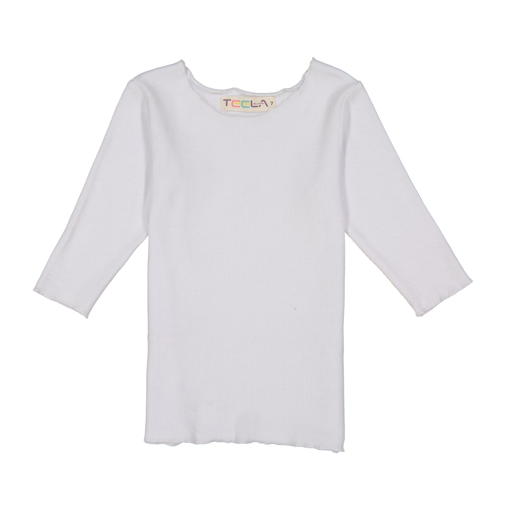 Teela White Rib 3/4 Sleeve Basic Shirt