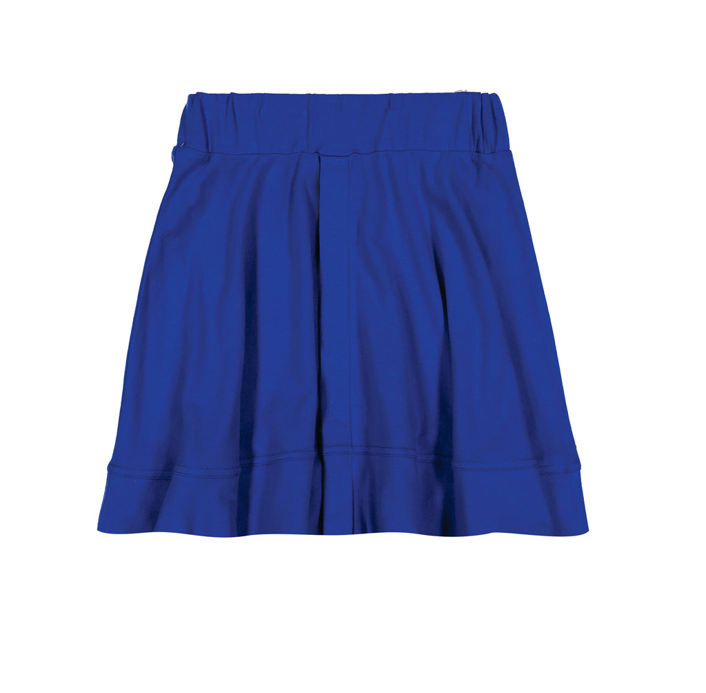 Teela Dazzling Blue Basic Knit Circle Cut Solid Skirt