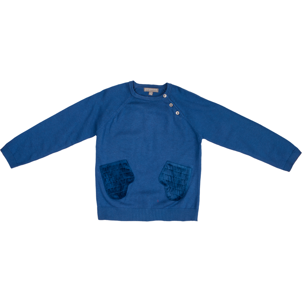 Pompomme Blue Sweater With Mittens