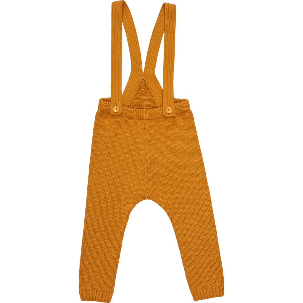Pompomme Ochre Knit Suspender Pants With Bonnet