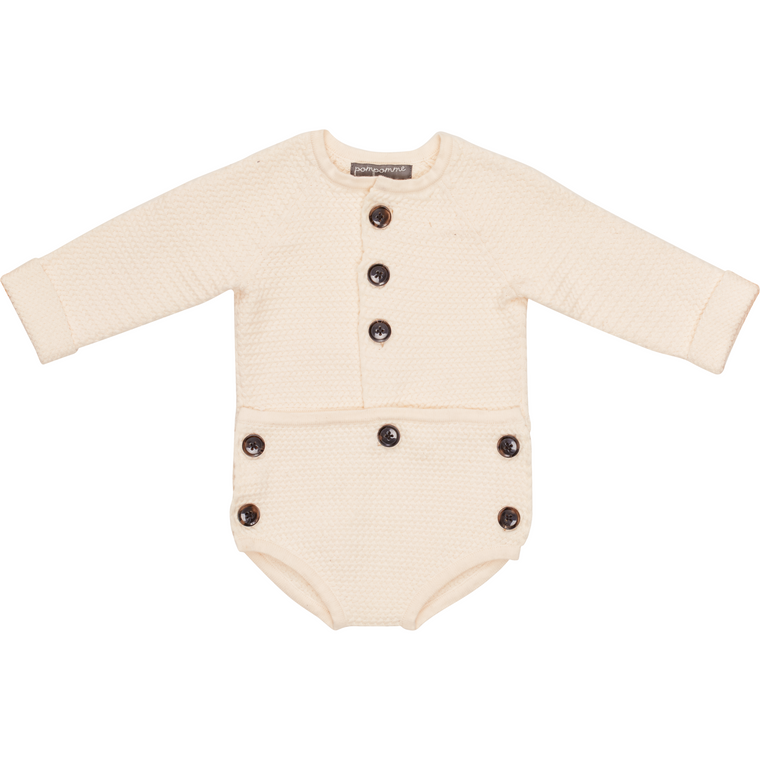 Pompomme Off-White Baby Onesie