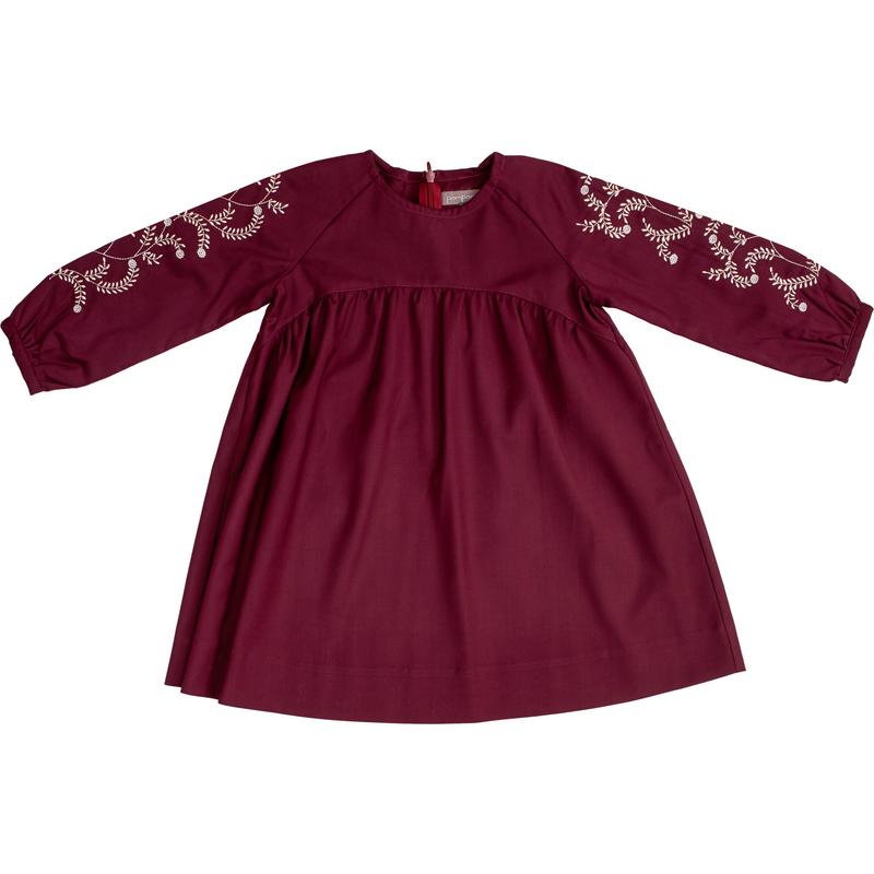 Pompomme Plum Embroidered Dress