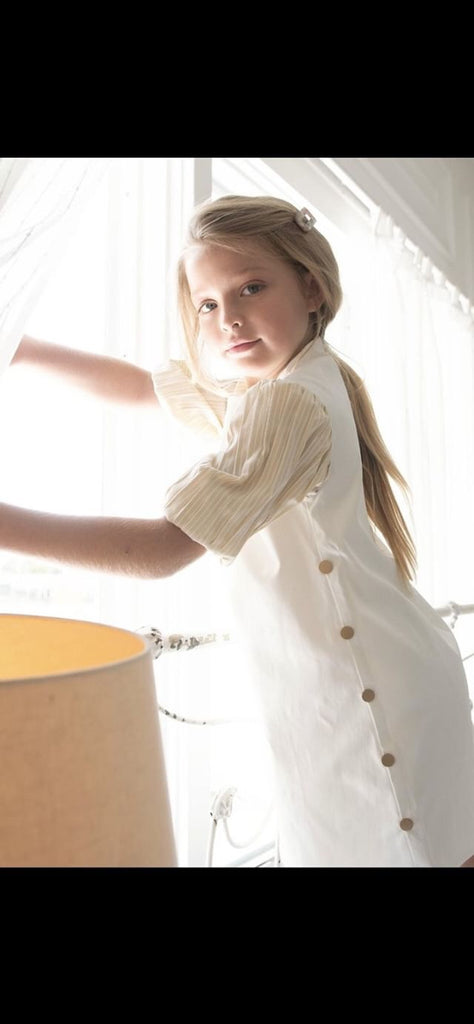 Sweet Threads White Dress With Gold Puffed Sleeves